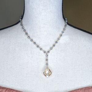 Jewelry - Chain Link Glass Beads & Crystal Pendent